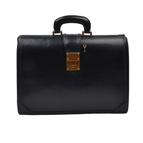 Executive Leather Briefcase/Doctor's Bag - Black