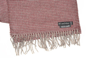 Plaid Cashmere Scarf - Burgundy & Grey