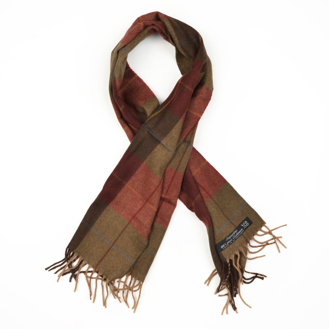 Plaid Cashmere Scarf - Burgundy & Green