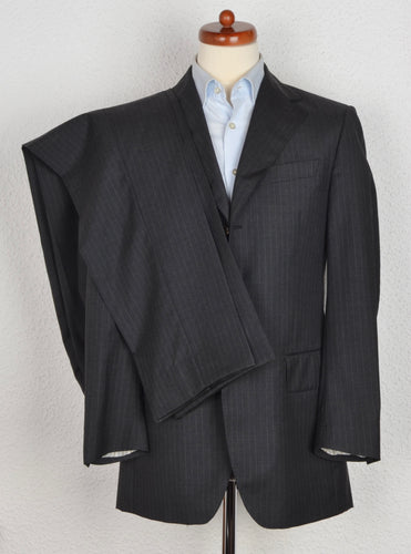 Dantendorfer Chalk Stripe Suit Size 46 - Grey