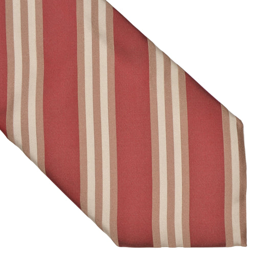 Hugo Boss Striped Silk Tie - Red, White Beige