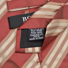 Load image into Gallery viewer, Hugo Boss Striped Silk Tie - Red, White Beige
