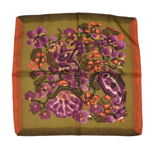 Etro Milano Silk Pocket Square - Green Floral Print