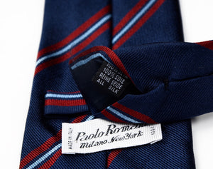 Paolo Romani Repp Stripe Silk Tie - Navy/Red