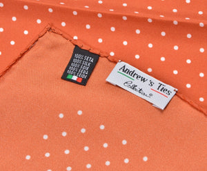 Andrew's Ties Collection Silk Pocket Square - Orange Polka Dot