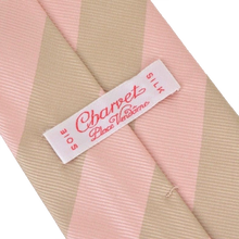 Load image into Gallery viewer, Charvet Striped Silk Tie - Pink & Taupe