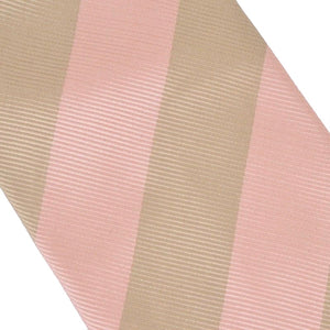 Charvet Striped Silk Tie - Pink & Taupe