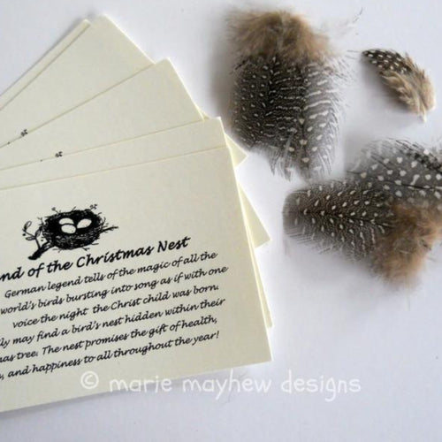 legend of the christmas nest cards and extra feathers.