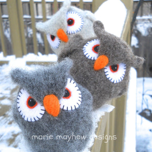 wool owl knitting pattern, marie mayhew