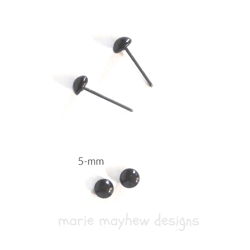 5-mm black glass eyes on wire pins