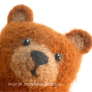 Marie Mayhew's Little Bear Hugs pattern. Hand knit custom bear. Comfort bear for that special someone.