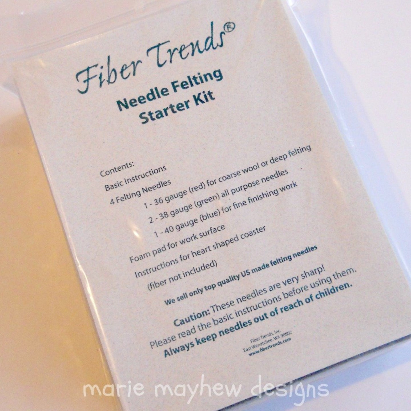 fiber trends needle felting kit, beginner needle felting