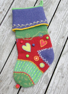 Marie Mayhew's Crazy Quilt Holiday Stocking pattern