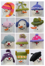 Load image into Gallery viewer, 12 knit snowman hats pattern
