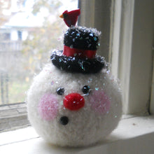 Load image into Gallery viewer, marie mayhew snowman dusted with mica flake glitter