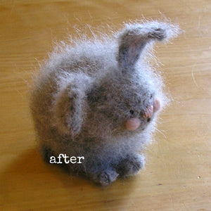 woolly bunny after being brushed with nap riser