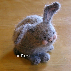 woolly bunny before being brushed with nap riser