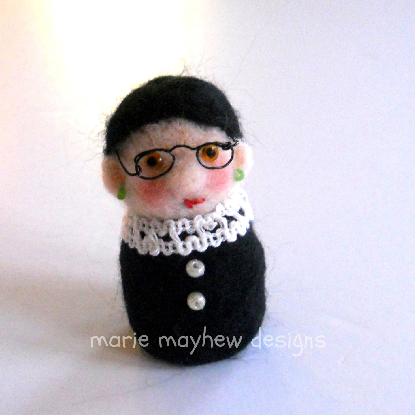 RBG, Ruth Bader Ginsburg Needle Felted Holiday Ornament