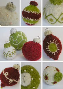 3 styles of ornament designs: ball, dear drop, beaded
