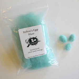 robin's egg blue wool roving for needle felting