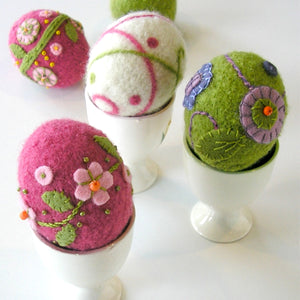 embellished woolly eggs using needle felting and appliqué