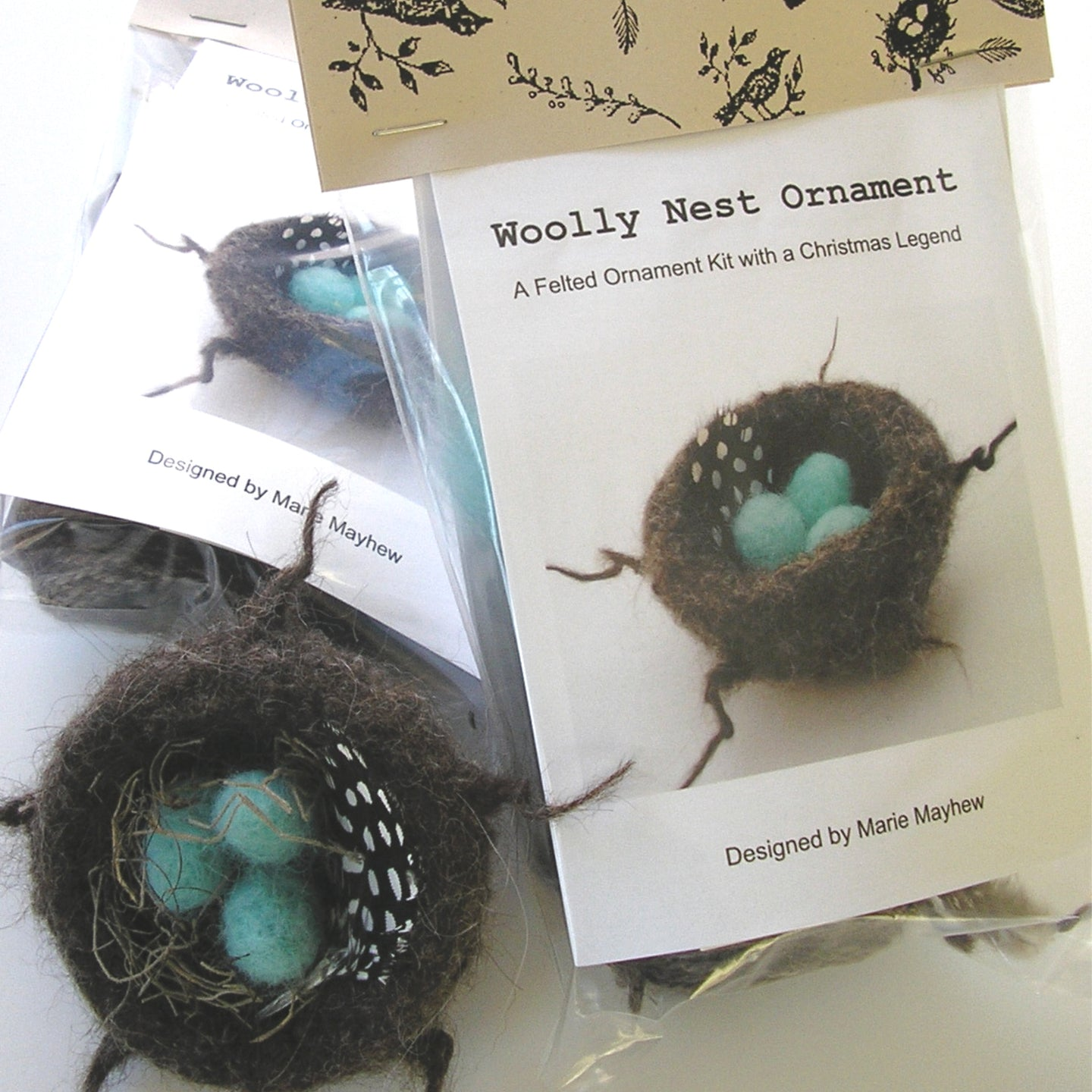 marie mayhew's woolly nest & eggs ornament kit