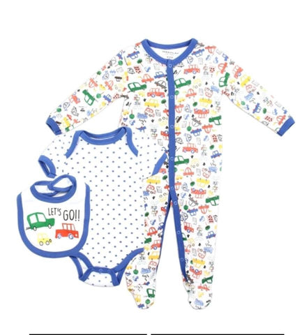 Infant 3-Piece Footie Set - Cars Design