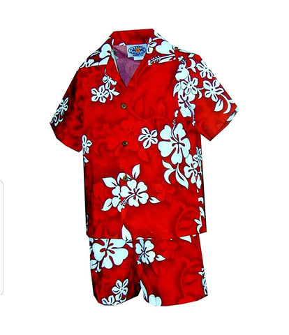 Boys Red Island Hibiscus Cabana Set