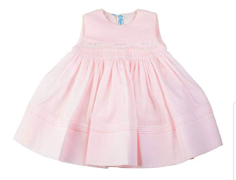 Infant Girls Sleeveless Dress with Pin Tucks and Lace
