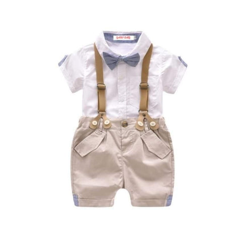 Infant Gentleman Suspenders Shorts and Bowtie Shirt Set
