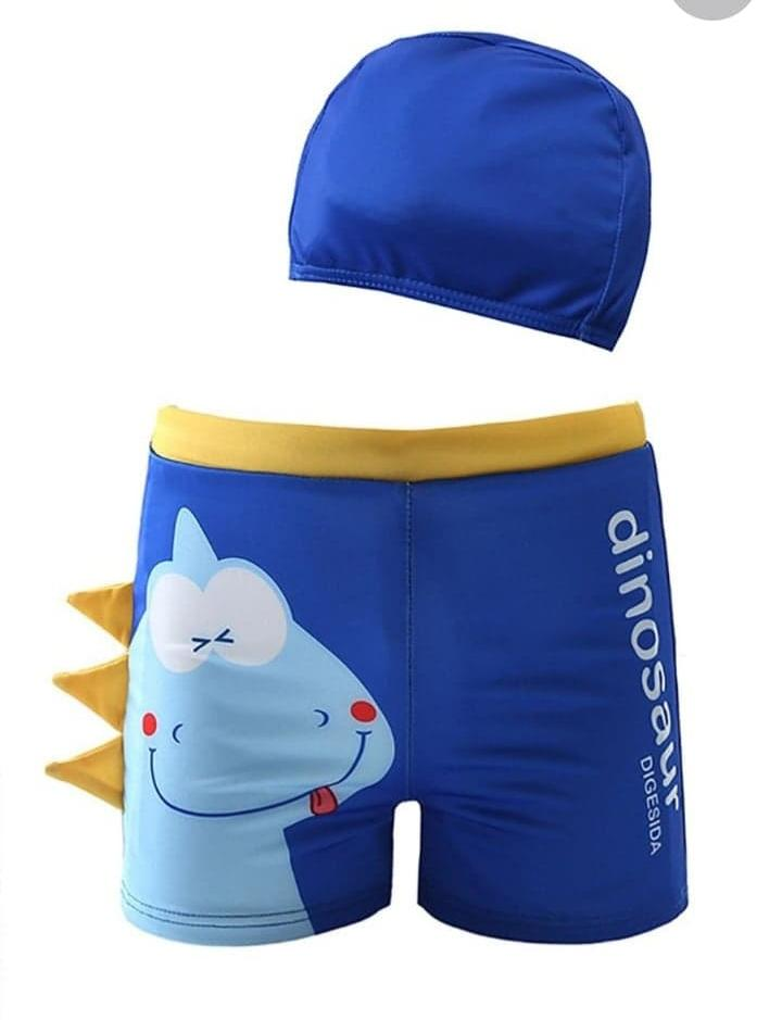 2-Piece Dinosaur Swimming Trunks with Swim Hat - Blue
