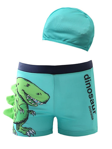 2-Piece Dinosaur Swimming Trunks with Swim Hat - Aqua
