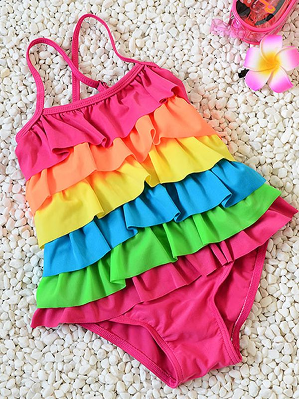 Rainbow Layered One-Piece Swimsuit