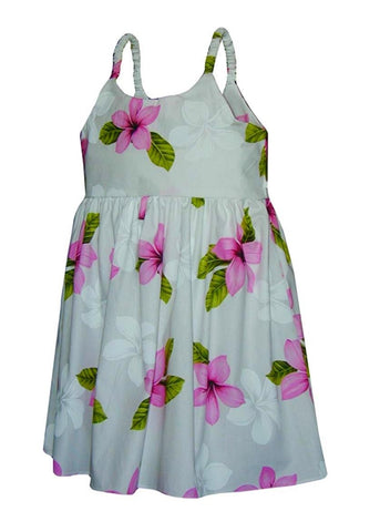 Toddler Hawaiian Sun Dress - Pink & White Plumeria