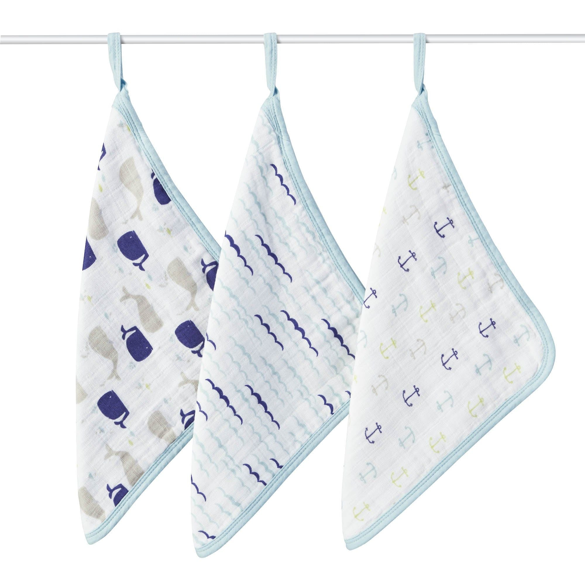 Muslin Washcloth Set 3-Pack - High Seas