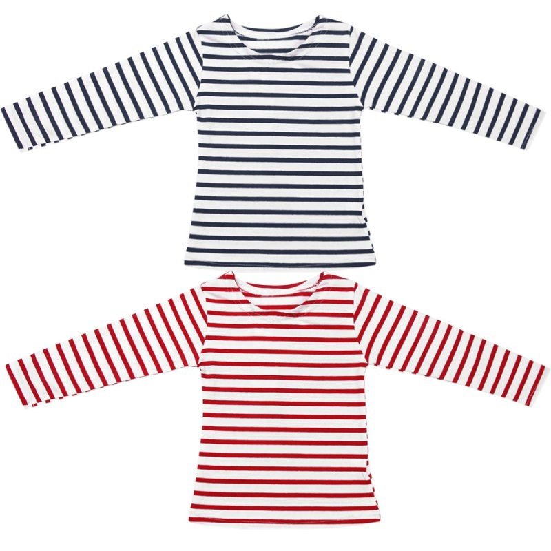 Boys Striped Cotton Patch Sleeves Pullover