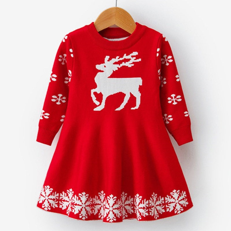 Girls Long Sleeve Snowflake Print Dress