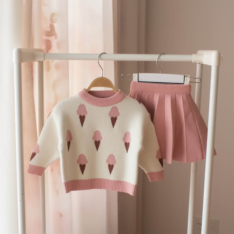 Ice Cream Knitted Pullover Sweater and Skirt Set