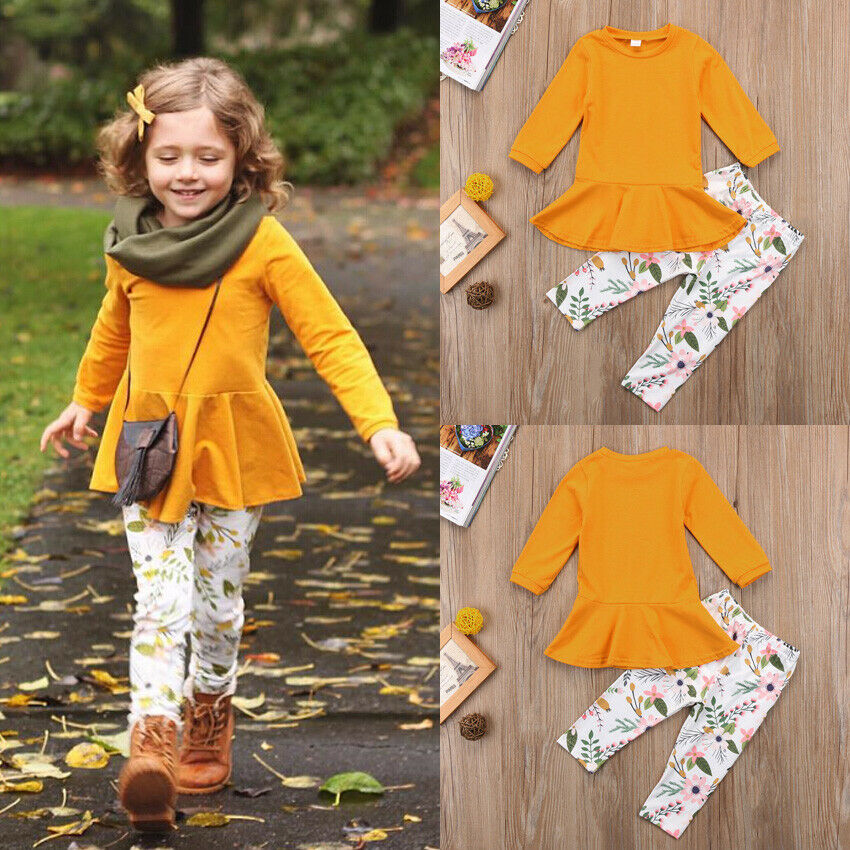 Girls Fall Floral Pants Set