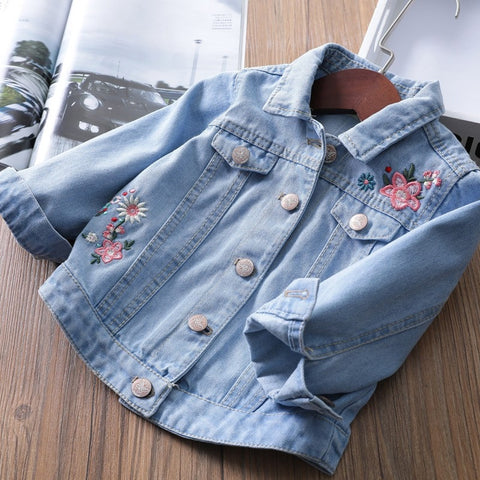Girls Floral Patchwork Denim Jacket
