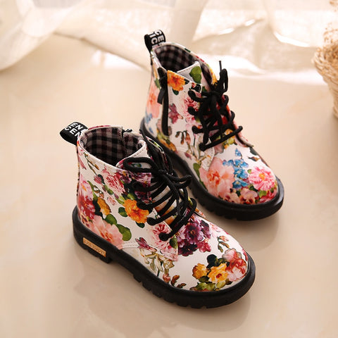 Girls Elegant Flower Print Ankle Boots