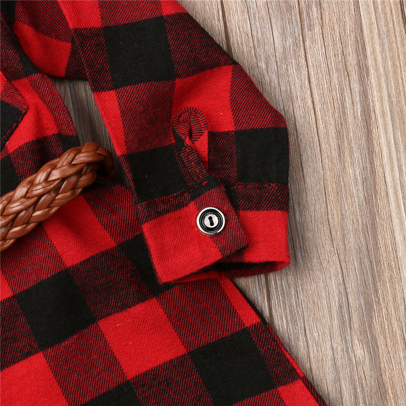 Girls Red Plaid Casual Dress