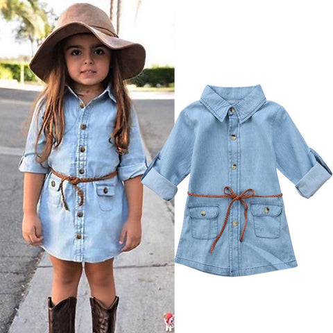 Girls Belted Denim Dress