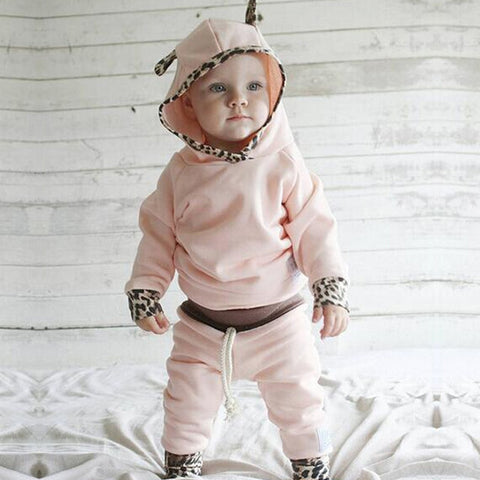 Infant Girls Leopard Trim Outfit