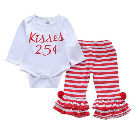 Infant Girls Kisses Romper and Pants Set