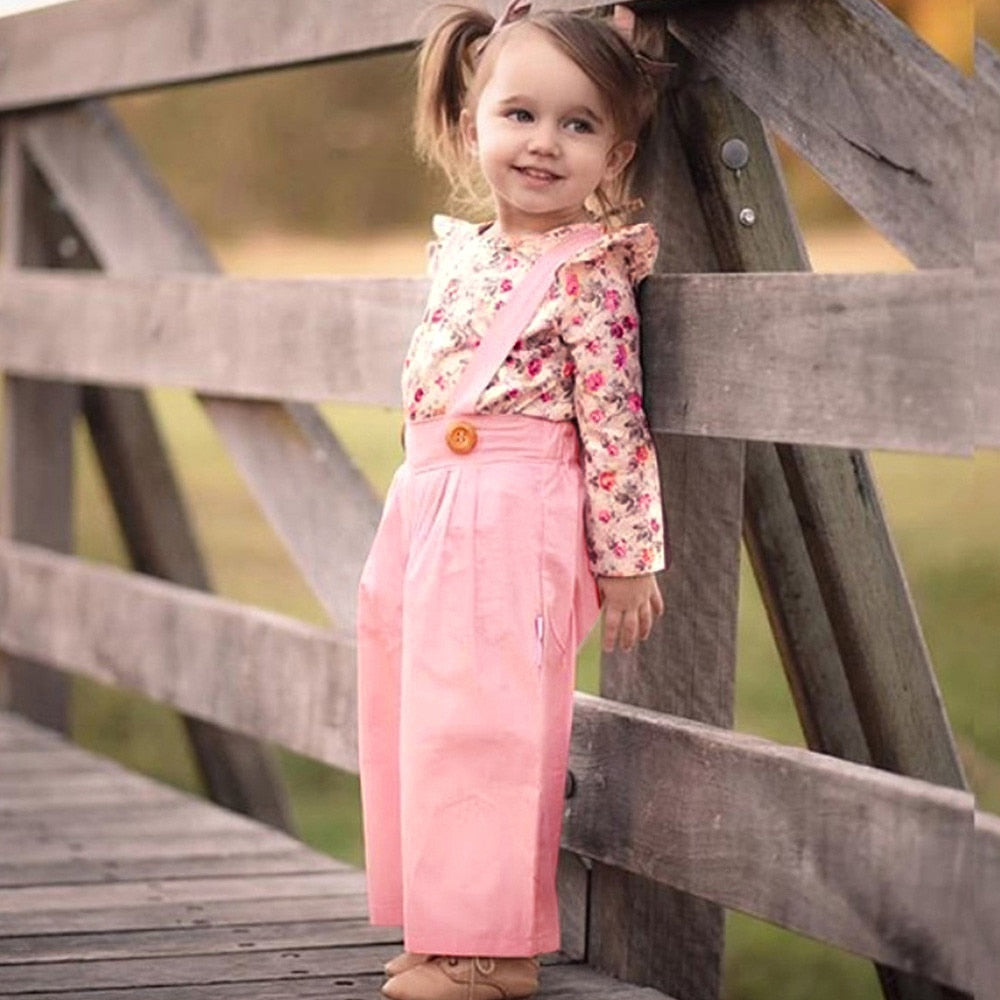 Girls Long Sleeve Floral Top and Overalls Pants Set