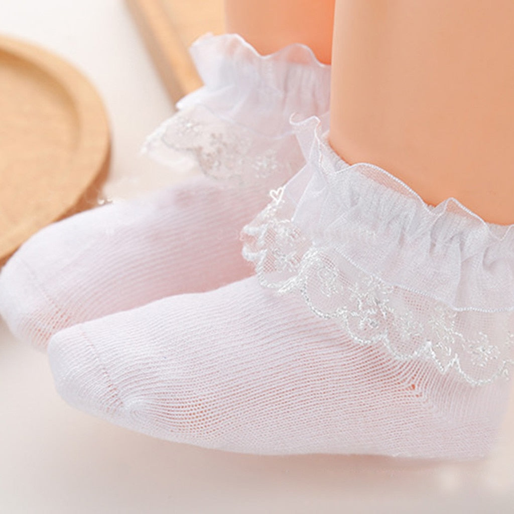 Infant Girls Frilly Trim Ankle Socks