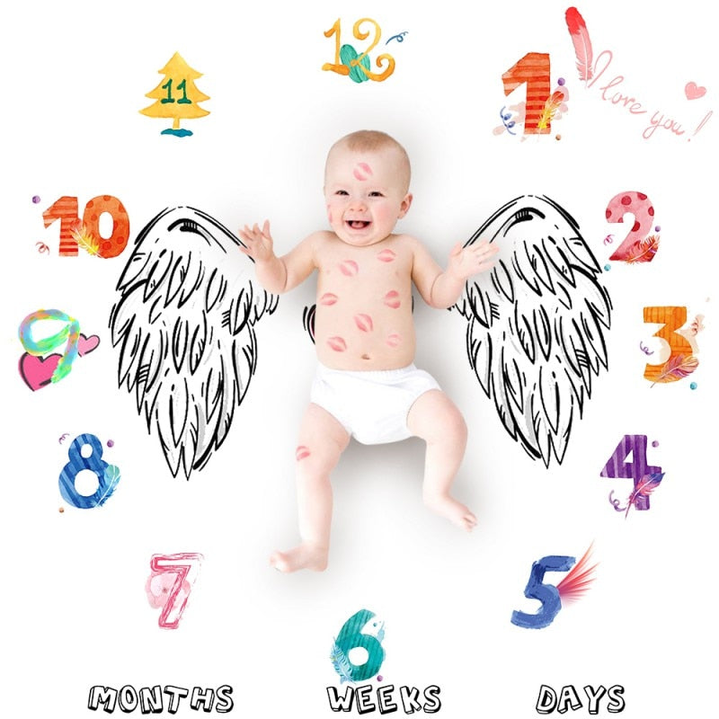 Printed Baby Background Milestone Blanket