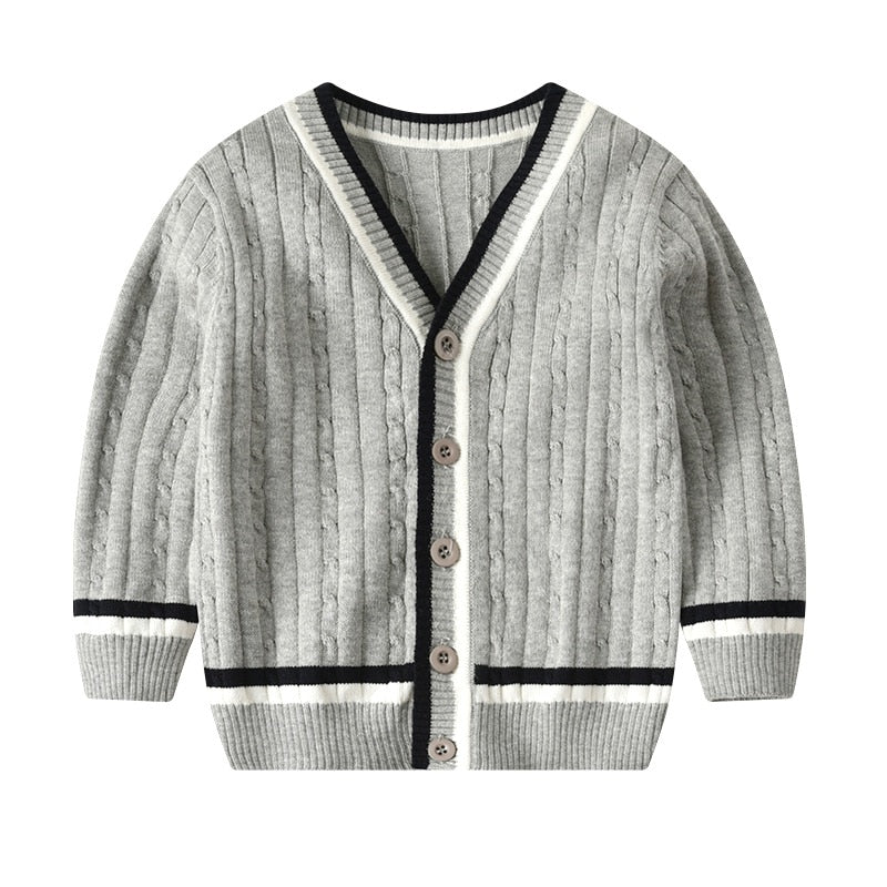 Boys Long Sleeve V-Neck Cardigan Sweater