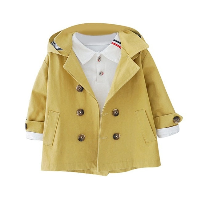 Boys Double-Breasted Windbreaker Coat